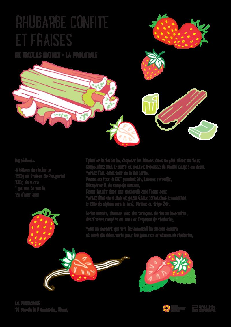 Rhubarbe confite et fraises – La Primatiale